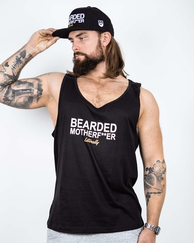Bearded Mother F Black/White Tank - Bearded Man