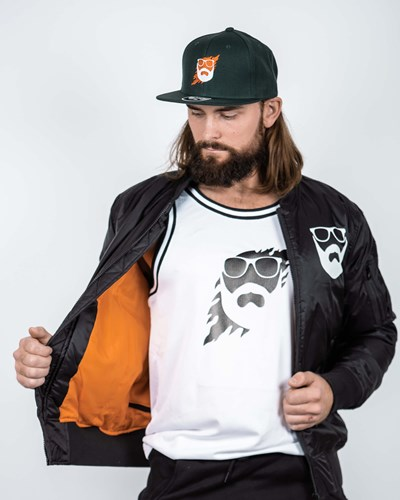 Logo Black/White Bomber Jacket - Bearded Man