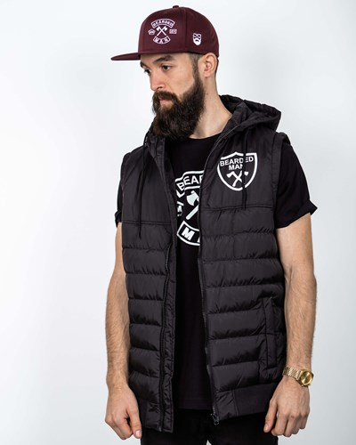 Crest Chest Black/White Vest Jacket - Bearded Man