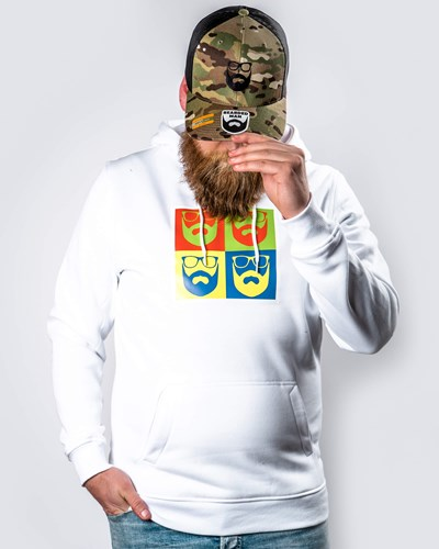 Art Logo White Hoodie - Bearded Man