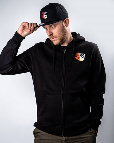 Beard Comet Black Zip Hoodie - Bearded Man