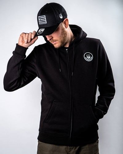 Beard Logo Patch Black Zip Hoodie - Bearded Man