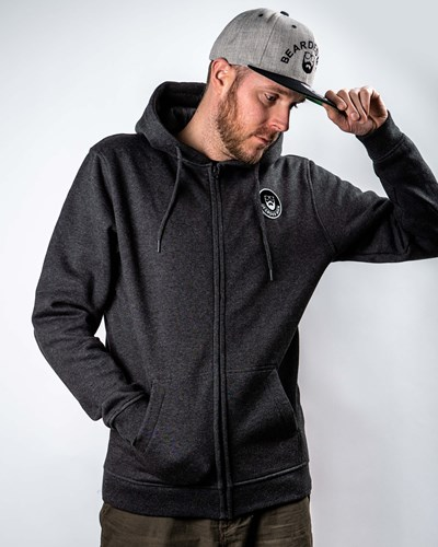 Beard Logo Patch Charcoal Zip Hoodie - Bearded Man
