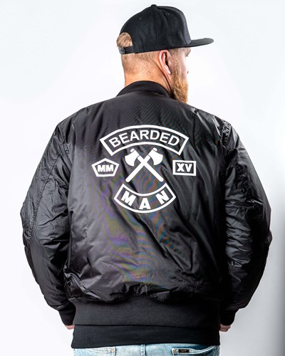 MC Patch Black/White Bomber Jacket - Bearded Man