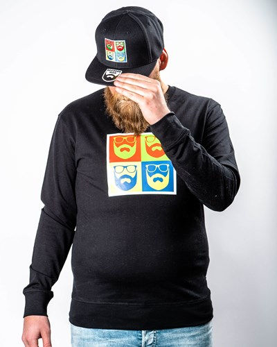 Art Logo Black Sweatshirt - Bearded Man