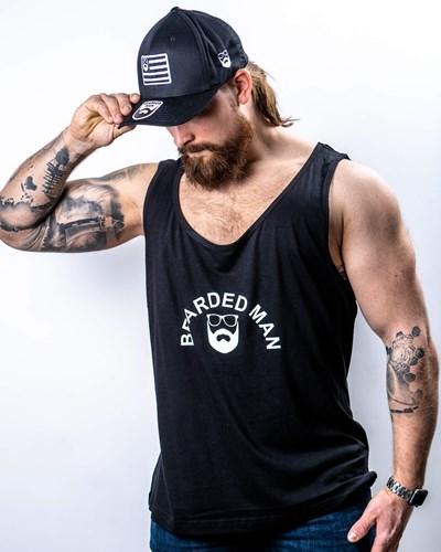 Half Circle Black/White Tank - Bearded Man