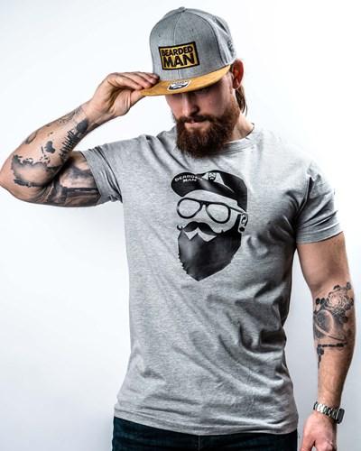 Cap Man Grey/Black T-Shirt - Bearded Man