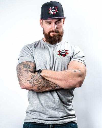 Rose Logo Embroidery Grey T-Shirt - Bearded Man