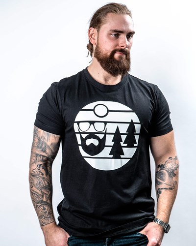 Sunset Black/White T-Shirt - Bearded Man