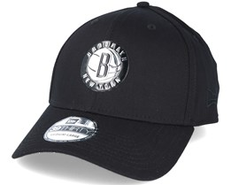 Brooklyn Nets NBA Metallic Black 39thirty Flexfit - New Era