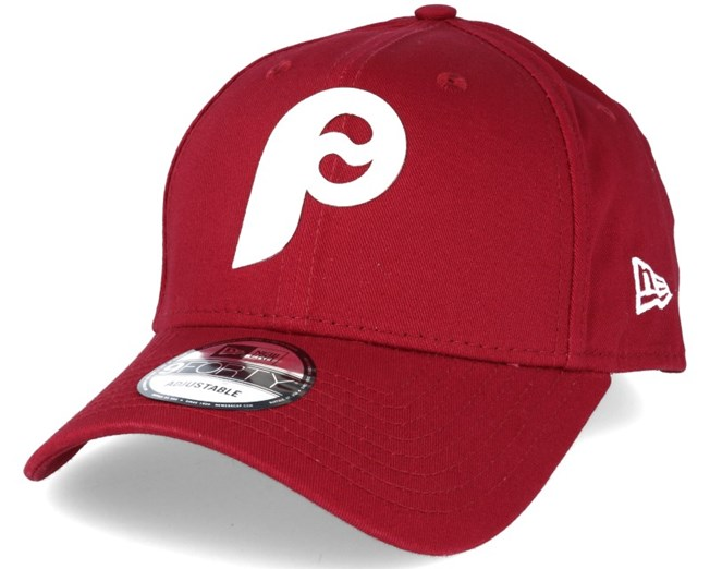 3b8ed4155fe Philadelphia Phillies Flock Logo Red 9forty Adjustable - New Era ...