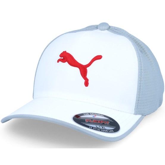 Front 9 Flexfit White Grey - Puma lippis - Hatstore.fi 32bfd1025b