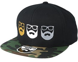 Three Logo Black/Camo Snapback - Bearded Man