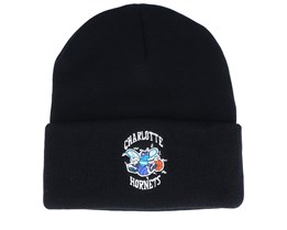 Charlotte Hornets Team Logo Knit Black Cuff - Mitchell & Ness