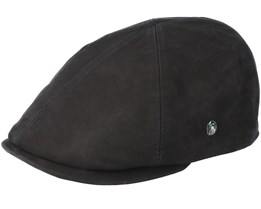 Leather Sixpence Black Flatcap - City Sport