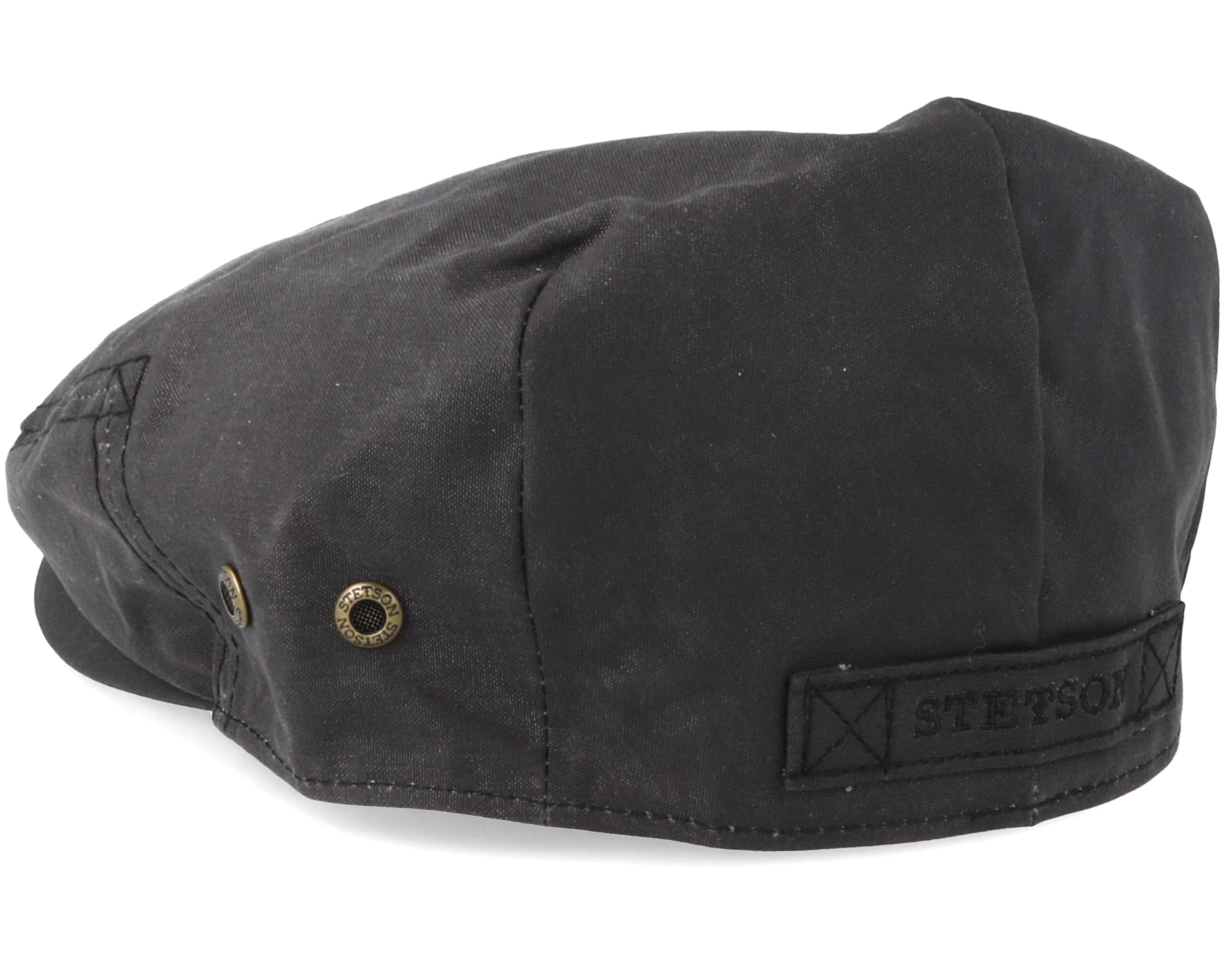 Driver Cap Waxed Cotton Black Flat Cap Stetson Caps