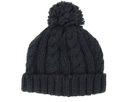 Kids Cable Knit Melange Black Pom - Beanie Basic
