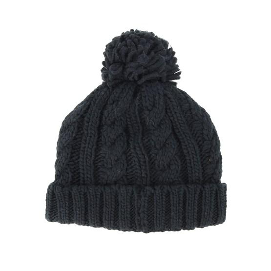 f743189e3cd Kids Cable Knit Melange Black Pom - Beanie Basic beanies - Hatstoreworld.com