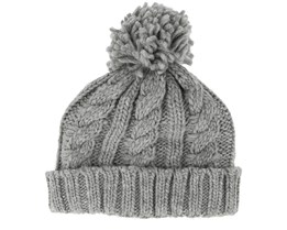 Kids Cable Knit Melange Light grey Pom - Beanie Basic