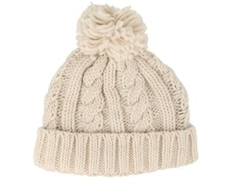Kids Cable Knit Melange Oatmeal Pom - Beanie Basic