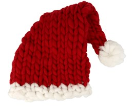 Knitted Santa Hat Red Pom - Beanie Basic