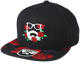 Rose Logo Black/Rose Snapback - Bearded Man