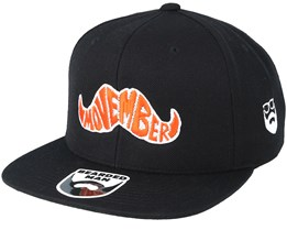 Movember Typo Black Snapback - Bearded Man