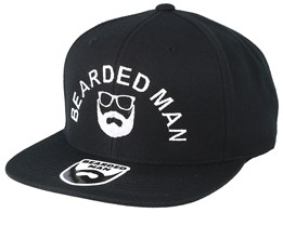 Half Circle Black Snapback - Bearded Man