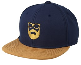 Logo Navy/Suede Snapback - Bearded Man
