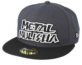 Silver 59Fifty Charcoal/Black Fitted - Metal Mulisha