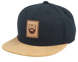 Logo Leather Patch Black/Suede Snapback - Bearded Man