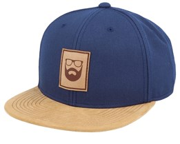 Logo Leather Patch Navy/Suede Snapback - Bearded Man