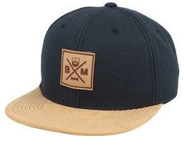 BM Cross Leather Patch Black/Suede Snapback - Bearded Man