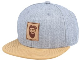 Cap Man Leather Patch Grey/Suede Snapback - Bearded Man