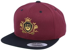 Golden Crest Maroon/Black/Gold Snapback - Bearded Man