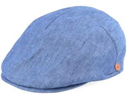 Sidney Linen Blue Flat Cap - Mayser