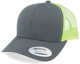 6-Panel Retro Trucker 2-Tone Charcoal/Neon Green Trucker - Yupoong