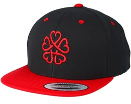 Kids Flower Heart Black/Red Kids Snapback - Kiddo Cap