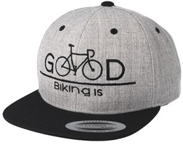Biking Is Good Heather Grey Black Snapback - Bike Souls