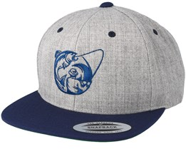 Fishing Circle Grey/Navy Snapback - Hunter