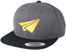 Plane Filled Charcoal/Black Snapback - Origami