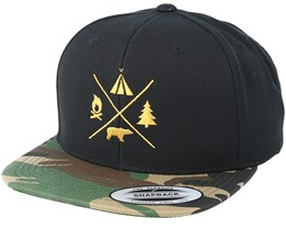 Camping Logo Black/Camo Snapback - Wild Spirit