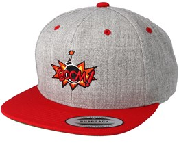 Boom Logo Grey/Red Snapback - BOOM