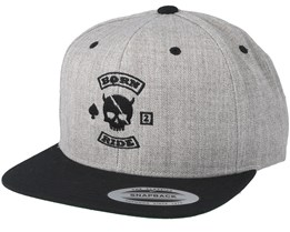 MC Skull Patch Grey/Black Snapback - Born To Ride