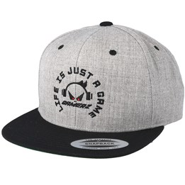 20b2d4bee6519 Gamerz Life Is Just A Game Grey Black Snapback - Gamerz £29.99