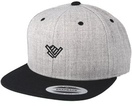 Shaka Hand Small Heather Grey/Black Snapback - Xaka