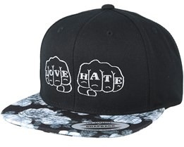Love And Hate Black/Grey Rose Snapback - Tattoo Collective