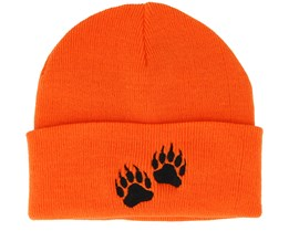 Bear Prints Orange Fold Beanie - Hunter