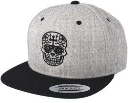 9daca1d42cf28 Day Of The Dead Grey Black Snapback - Tattoo Collective