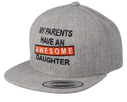 Kids Awesome Daughter Heather Grey Snapback - Kiddo Cap